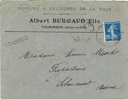 ENVELOPPE  A EN-TETE MOULINS ET CYLINDRES DE LA NAZE ALBERT BURGAUD VALMONDOIS - 1921-1960: Modern Tijdperk