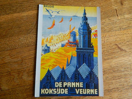 COXYDE -DE PANNE-VEURNE  :TRES BELLE CARTE D'UNE AFFICHE REPRO -AVEC LES PLAGES -MOULIN ET CAMPANILE - Koksijde
