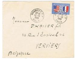 840 AMITIES FRANCO-AMERICAINE SEUL SUR LETTRE BOURGES POUR VERVIERS BELGIQUE - 1921-1960: Période Moderne