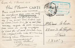 """Lyon - 1917 - Cachet """"HOPITAL AUXILAIRE 112"""" Sur Cpa Du Groupe Scolaire De L'hôpital Scan Recto-verso - WW I"""