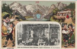 AK OLD POSTCARD -  GRUSS VOM RESTAURANT PLATZL , MUNCHEN - IN RILIEVO - EMBOSSED - VIAGGIATA 1916 - G46 - München