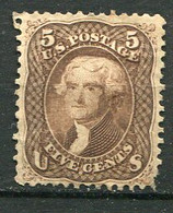 E-U 1861 Yv. N° 21 , SCOTT N° 67 Dentelé 12  (*)   5c  Jefferson  Marron   Cote 900 Euro  BE R  2 Scans - Unused Stamps