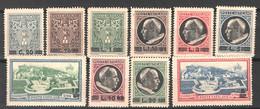 Vaticano 1945 Medaglioncini Soprastampati Sass.102/9 + Ex.7/8 **/MNH VF/F - Nuovi