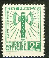 Servizio, 1943, Asce, N. 9 Fr. 2 Verde RIPRODUZIONE, Cat € 50 Se Originale - Ungebraucht