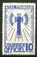 Servizio, 1943, Asce, N. 13 Fr. 10 Blu RIPRODUZIONE, Cat € 80 Se Originale - Ungebraucht