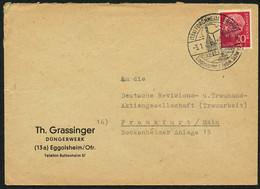 BUND 1957, Nr. 185 20 PF. BRIEF, SST FORCHHEIM, EINGANGSTOR Z. FRÄNK. SCHWEIZ - Covers & Documents