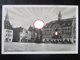 "Postkarte Coburg Marktplatz - Aufgehende Hakenkreuz-Sonne + Sonderstempel ""mit Hitler In Coburg"" 1942 - Brieven En Documenten"