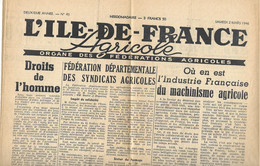 Ile-de-France Agricole - Samedi 2 Mars 1946 - Unclassified