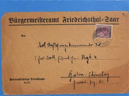 Saar 1921 Lettre De Friedrichsthal (G2643) - Brieven En Documenten