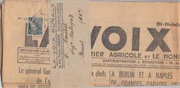 MERCURE 2c N° 405 SEUL. BANDE JOURNAL. LA VOIX RURALE. LIMOGES POUR Mr MAUTRET DEPOSITAIRE BUTAGAZ A MANOT. 10 JUIN 1939 - 1921-1960: Moderne