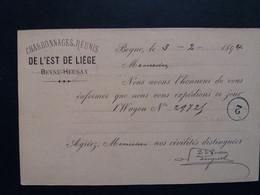 Belgique Oblitération Beyne Heusay Sur EP Privé Charbonnages Reunis De L,est De Liege - Postales [1871-09]