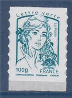 Marianne Et La Jeunesse Autocollant X 1 Lettre Verte -100g, Neuf De Feuille N°860 (type 4776 Gommé) - 2013-... Marianne Van Ciappa-Kawena