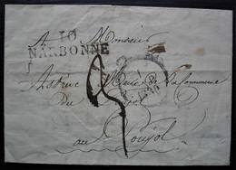 10 Narbonne Marque 39 X 12 Sur Lettre De 1830 Pour Le Poujol - 1801-1848: Précurseurs XIX