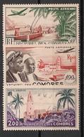 Comores - 1950-53 - Poste Aérienne PA N°Yv. 1 à 3 - Série Complète - Neuf Luxe ** / MNH / Postfrisch - Poste Aérienne