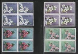POLAND 1971 FLOWERS ON TREES SET OF 10 NHM BLOCKS OF 4 Plants Nature - Ongebruikt