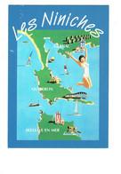 Cpm 56 CONFISERIE LES NINICHES BELLE ILE EN MER CARNAC QUIBERON BONBON Publicité Dessin Femme Maillot Bain Huitre Menhir - Belle Ile En Mer