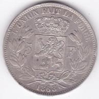 BELGIQUE . 5 FRANCS 1868. LEOPOLD II. En ARGENT. Position A - 09. 5 Franchi
