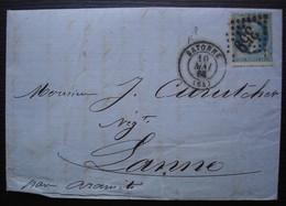 Bayonne 1868 Lettre Pour J. Curutchet à Lanne Par Aramits, Lettre De Bailère Frères à Propos D'un Enterrement - 1849-1876: Période Classique