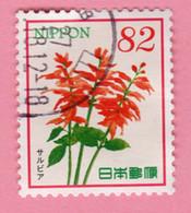 2015 GIAPPONE Fiori Flowers Fleurs Scarlet Sage (Salvia Splendens) - 82 Y Usato - Usati