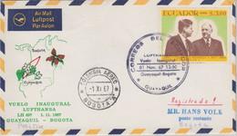 Ecuador - 3 $. Kennedy/de Gaulle Luftpostbrief/LH-Erstflug Guayaquil Bogota 1967 - Ecuador