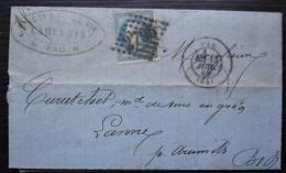 Pau 1869  Labeyrie Vins Et Eau De Vie, Lettre Pour Lanne Par Aramits (Curutchet Marchand De Vins) - 1849-1876: Période Classique