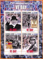 A6889 - SIERRA LEONE, Error, 2020, MISSPERF MINIATURE SHEET: Ve Day, WW II, Churchill, Queen Elizabeth II - Guerre Mondiale (Seconde)