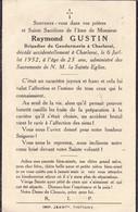 GENDARME GUSTIN Raymond Accident Brigadier Gendarmerie Charleroi 23 Ans 1952 TINTIGNY DP - Obituary Notices