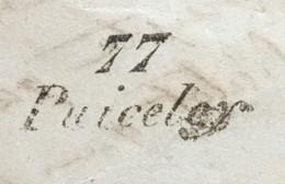 Lettre RARE RRR Linéaire 77 Puicelcy Tarn Lettre Cachet Gaillac-sur-Tarn 24.1.1848 – 8bleu - 1801-1848: Precursori XIX