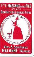 PLAYING CARD/NAMUR/MALONNE/DOS DE CARTE /ETS MASSAUX & SES FILS/DISTILLERIE DE LIQUEURS FINES/VINS & SPIRITUEUX - Altri