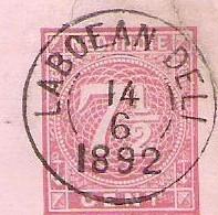 NED.INDIE Matige Briefkaart 1892 Met Pracht Kleinrondstempels LABOEAN DELI, POSTAGENT PENANG - Niederländisch-Indien