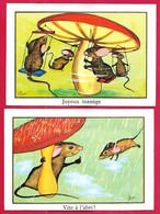 """(lot De 2) Image Des """"Editions éducatives"""" Par Chica : Souris Et Champignon """"Joyeux Manège"""" Et """"Vite à L'abri"""" - Altri"""