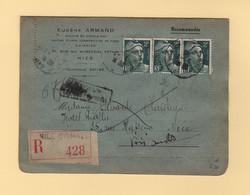 Marianne De Gandon - Recommande - Retour A L Envoyeur - Nice Grimaldi - 1945 - 1921-1960: Période Moderne