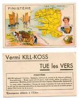 Carte Géographique Du FINISTERE, Récompense Scolaire, Publicité Pour Vermi KILL-KOSS, TUE Les VERS. - Cartes Géographiques