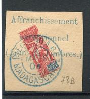 !!! MADAGASCAR, N°78b OBLITERATION SUPERBE SUR FRAGMENT - Used Stamps