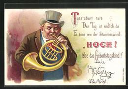 Präge-Lithographie Mann Im Mantel Spielt Auf Dem Horn Ein Lied Zum Geburtstag - Musica E Musicisti