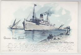 Gruss Von Bord - Deutsch Ost-Afrika-Linie - 1905 Litho Sieht Aus Wie Neu - Piroscafi