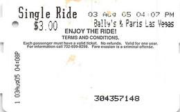 Las Vegas Single Ride Monorail Ticket From 2005 - Bally's & Paris - World