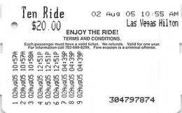 Las Vegas Ten Ride Monorail Ticket From 2005 - Las Vegas Hilton - World