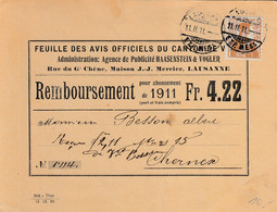 Carte De Remboursement De La Feuille Des Avis Officiels Du Canton De Vaud, Pour L'abonnement 1911, à A.Besson, Chernex - Publicidad