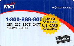 MCI Worldphone Blockbuster Calling Card With Sticker For $10 Free US Card Calling - [3] Magnetic Cards
