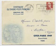 GANDON 15FR CENTENAIRE SEUL LETTRE ENTETE CONCORDANTE 1949 - 1945-54 Marianne De Gandon