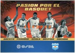 Postcard Card OSDE Selección Argentina De Basquet Baloncesto Oberto Prigioni Scola Delfino Nocioni Ginobili 2010 - Basketball