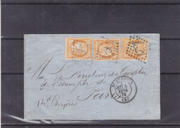France - Lettre De 1875 - Oblit St Quentin - Exp Vers Paris - Cachet Paris Poste Rue Rotante - 1871-1875 Ceres