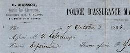ASSURANCEs MARITIMEs PARIS PECHE MORUE St Pierre Et Miquelon  LE FRANCOIS GRANVILLE NAVIRE ESPERANCE 1864 T.B.E. - 1800 – 1899