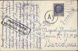 Guerre 39 45 YT 520 Pétain Bersier Seul Sur Lettre CAD Toulouse Censure Valence Espagne + Allemande AY De Bordeaux - Guerra De 1939-45