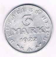 3 MARK 1922 A DUITSLAND /5904/ - 3 Mark & 3 Reichsmark