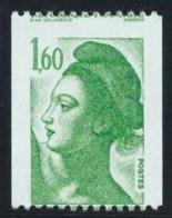 Beau Piquage A Cheval Liberté De Gandon Roulette N°2222. 1,60 Vert N**sans Charnière - 1982-90 Liberty Of Gandon