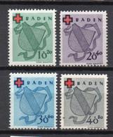 - BADE / BADEN / OCCUPATION FRANCAISE N° 38/41 Neufs ** MNH - Série Complète Croix-Rouge 1949 - Cote 120,00 € - - Zone Française