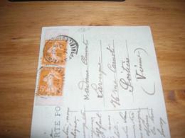 Cpa 1923 Tarif 10c Affranchissement Paire Semeuse Orange 5c 158 Issu De Carnet Bon Etat - 1877-1920: Periodo Semi Moderno