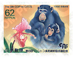 Ref. 90184 * MNH * - JAPAN. 1992. 8th CONFERENCE ON INTERNATIONAL TRADE OF ENDANGERED SPECIES . 8 CONFERENCIA SOBRE EL C - Chimpanzees